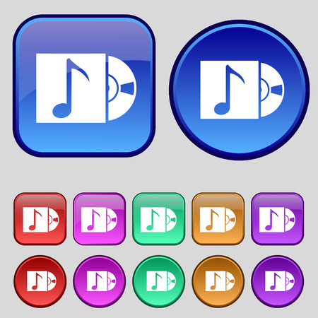 cd player: cd player icon sign. A set of twelve vintage buttons for your design. illustration
