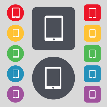 smartphone icon: Tablet sign icon. smartphone button. Set colur buttons. illustration