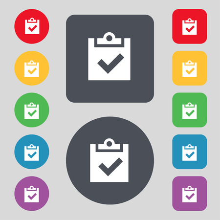 Check mark, tik icon sign. A set of 12 colored buttons. Flat design. illustration