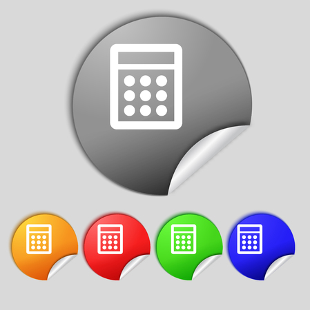 bookkeeping: Calculator sign icon. Bookkeeping symbol. Set colour buttons. illustration