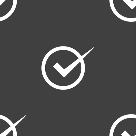 checkbox: Check mark sign icon. Checkbox button. Seamless pattern on a gray background. illustration