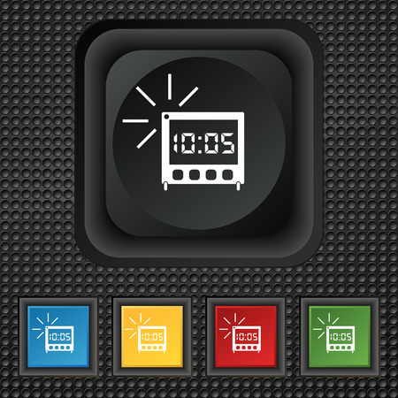 lcd: digital Alarm Clock icon sign. symbol Squared colourful buttons on black texture. illustration