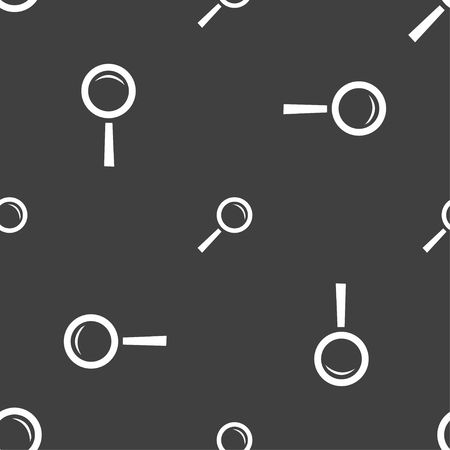 interface menu tool: Magnifier glass sign icon. Zoom tool button. Navigation search symbol. Seamless pattern on a gray background. illustration Stock Photo