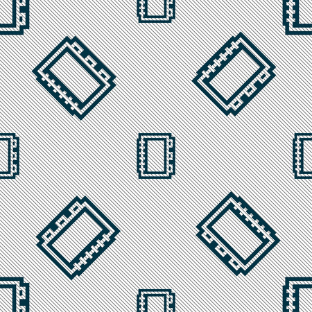 videobook: Book icon sign. Seamless pattern with geometric texture. illustration Stock Photo