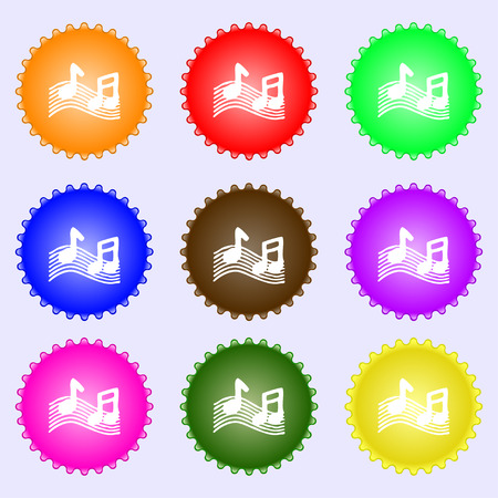 ringtone: musical note, music, ringtone icon sign. A set of nine different colored labels. illustration