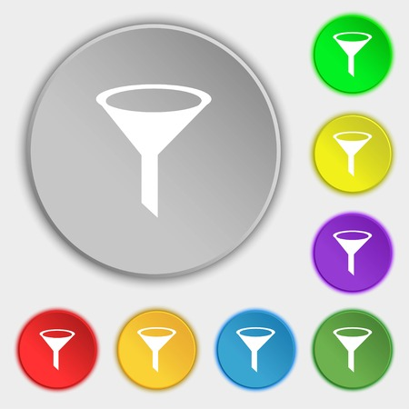filtering: Funnel icon sign. Symbols on eight flat buttons. illustration