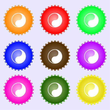 daoism: Yin Yang icon sign. A set of nine different colored labels. illustration Stock Photo