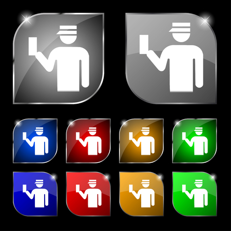 inspector: Inspector icon sign. Set of ten colorful buttons with glare. illustration