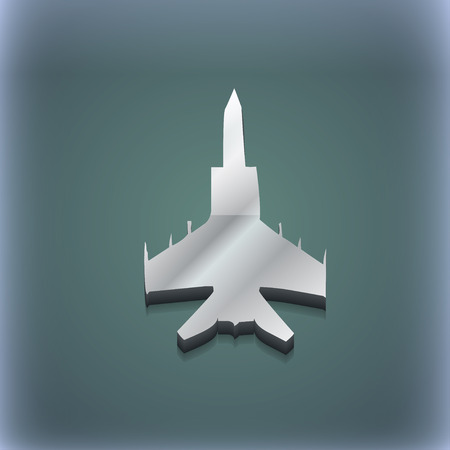modern fighter: fighter icon symbol. 3D style. Trendy, modern design with space for your text illustration. Raster version