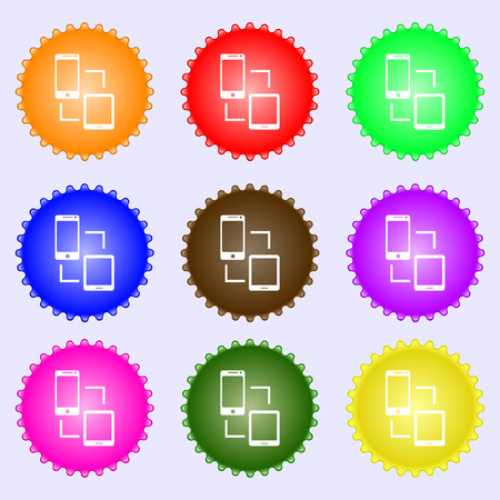sync: Synchronization sign icon. communicators sync symbol. Data exchange. A set of nine different colored labels. illustration Stock Photo