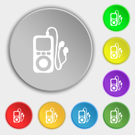 portable audio: MP3 player, headphones, music icon sign. Symbol on five flat buttons. illustration