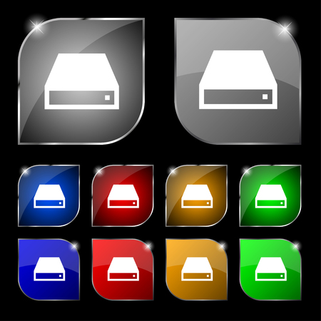 rom: CD-ROM icon sign. Set of ten colorful buttons with glare. illustration
