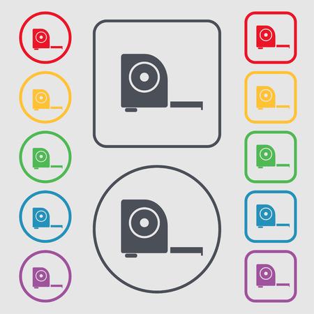 cintas metricas: la construcci�n de la ruleta icono de la muestra. s�mbolo en el botones cuadrados con Marco redondo y. ilustraci�n Foto de archivo