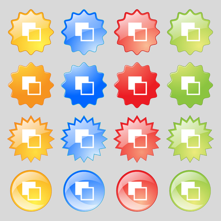 toolbar: Active color toolbar icon sign. Big set of 16 colorful modern buttons for your design. illustration Stock Photo
