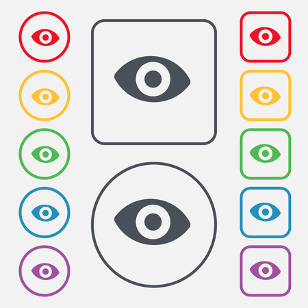 a sense of: sixth sense, the eye icon sign. symbol on the Round and square buttons with frame. illustration
