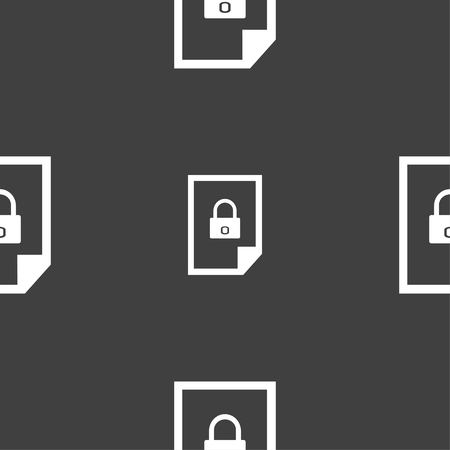 locked icon: File locked icon sign. Seamless pattern on a gray background. illustration