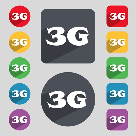 3g: 3G sign icon. Mobile telecommunications technology symbol. Set of colour buttons. illustration