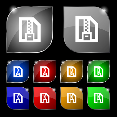 compressed: Archive file, Download compressed, ZIP zipped icon sign. Set of ten colorful buttons with glare. illustration