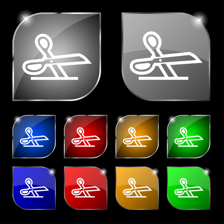 disclosed: scissors icon sign. Set of ten colorful buttons with glare. illustration
