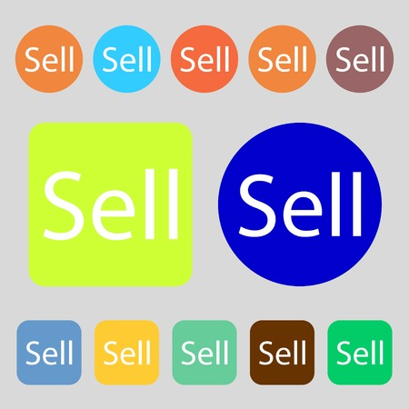 earnings: Sell sign icon. Contributor earnings button.12 colored buttons. Flat design. illustration Stock Photo