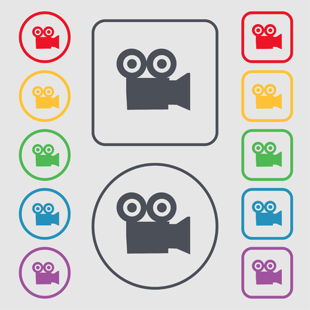 journalistic: video camera icon sign. symbol on the Round and square buttons with frame. illustration