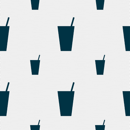 spearmint: cocktail icon sign. Seamless pattern with geometric texture. illustration