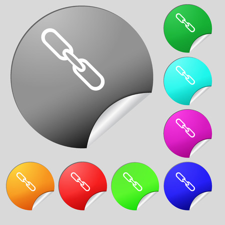 hyperlink: Link sign icon. Hyperlink chain symbol. Set of eight multi colored round buttons, stickers. illustration