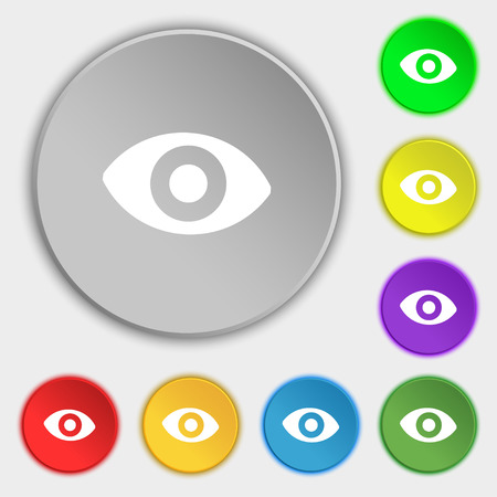 sixth sense: sixth sense, the eye icon sign. Symbol on five flat buttons. illustration Stock Photo