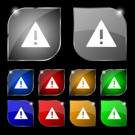 wrapped corner: Attention sign icon. Exclamation mark. Hazard warning symbol. Set colourful buttons illustration Stock Photo