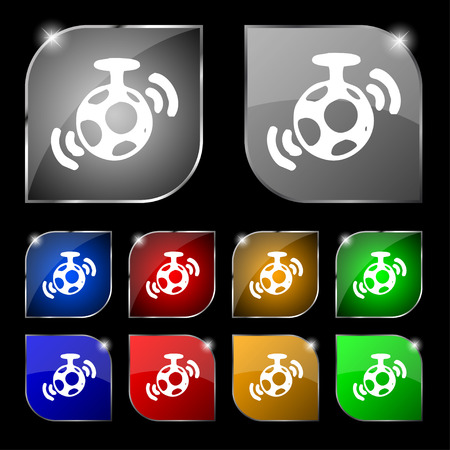 mirror ball disco icon sign. Set of ten colorful buttons with glare. illustration Stock Photo