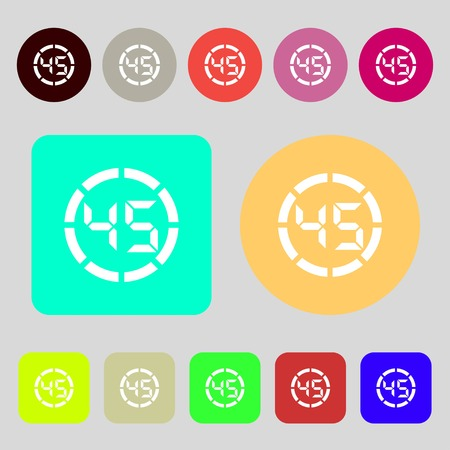 corner clock: 45 second stopwatch icon sign.12 colored buttons. Flat design. illustration