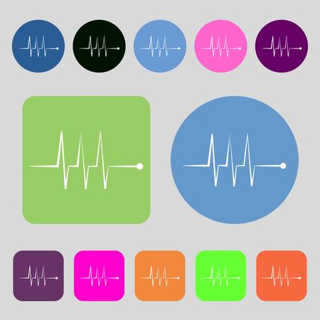 heart beats: Cardiogram monitoring sign icon. Heart beats symbol.12 colored buttons. Flat design. illustration