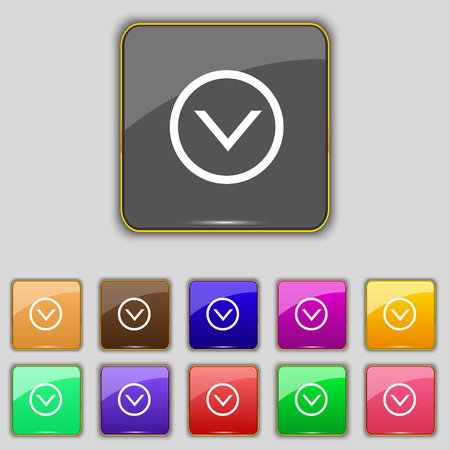 eleven: Arrow down, Download, Load, Backup icon sign. Set with eleven colored buttons for your site. illustration
