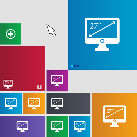 27: diagonal of the monitor 27 inches icon sign. Metro style buttons. Modern interface website buttons with cursor pointer. illustration