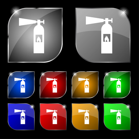fire extinguisher icon sign. Set of ten colorful buttons with glare. illustration Imagens