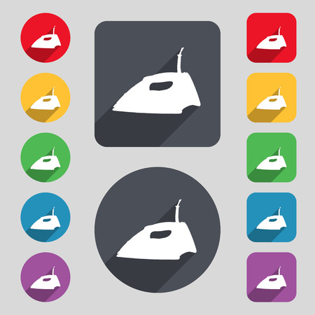 plug in: Iron icon sign. A set of 12 colored buttons and a long shadow. Flat design. illustration