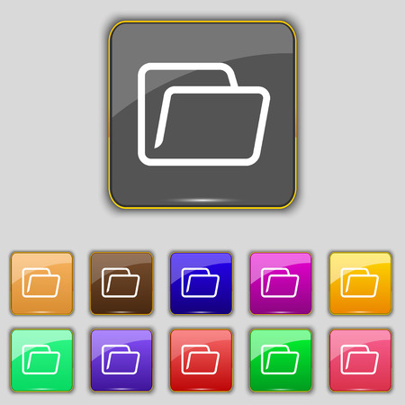 eleven: Folder icon sign. Set with eleven colored buttons for your site. illustration