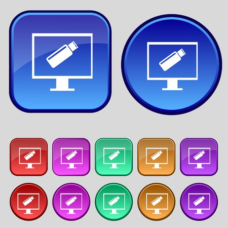 quality controller: usb flash drive and monitor sign icon. Video game symbol. Set colourful buttons. illustration Stock Photo