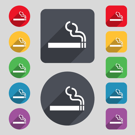 smoldering cigarette: cigarette smoke icon sign. A set of 12 colored buttons and a long shadow. Flat design. illustration