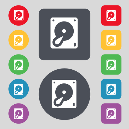 web security: Hard disk and database icon sign. A set of 12 colored buttons. Flat design. illustration