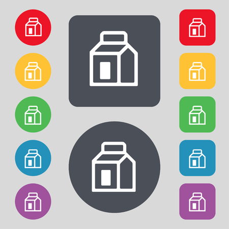 nectars: Milk, Juice, Beverages, Carton Package icon sign. A set of 12 colored buttons. Flat design. illustration