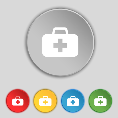 medicine chest: medicine chest icon sign. Symbol on five flat buttons. illustration