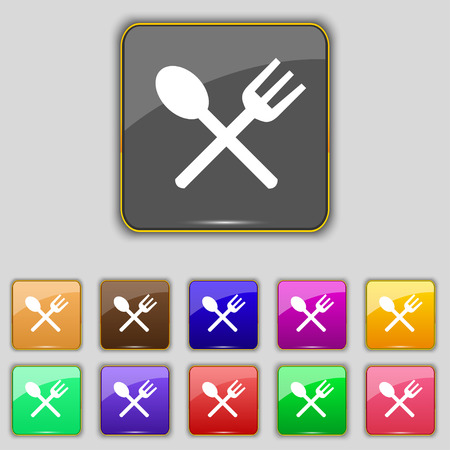 crosswise: Fork and spoon crosswise, Cutlery, Eat icon sign. Set with eleven colored buttons for your site.