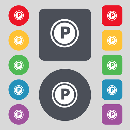 toll: Car parking icon sign. A set of 12 colored buttons. Flat design. illustration