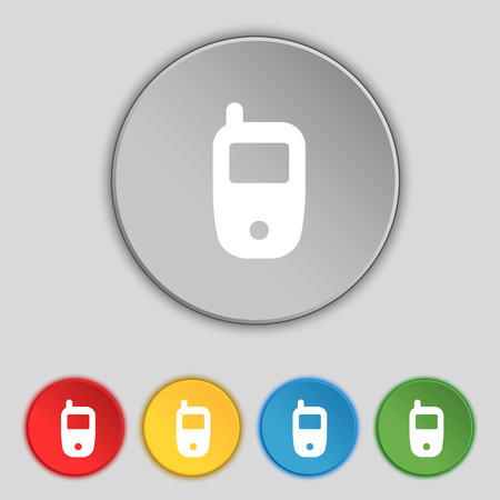 telecommunications technology: Mobile telecommunications technology symbol. Set colour buttons. illustration