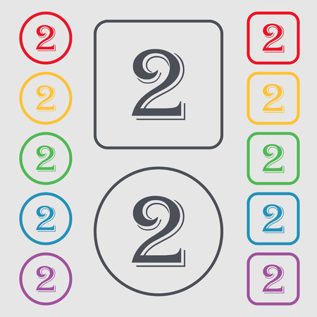second place: Second place award sign. Winner symbol. Step two.. Symbols on the Round and square buttons with frame. illustration