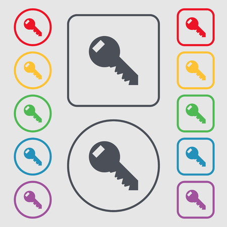 tool unlock: Key sign icon. Unlock tool symbol.. Symbols on the Round and square buttons with frame. illustration