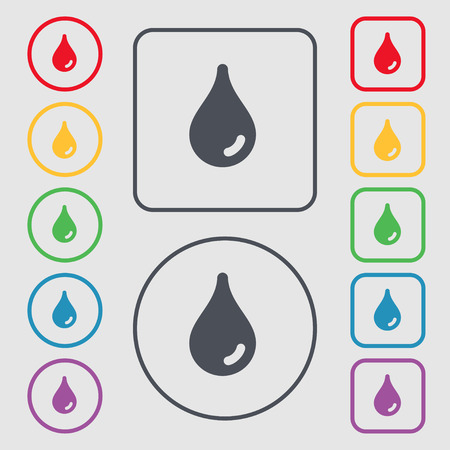 Water drop icon sign. symbol on the Round and square buttons with frame. illustration