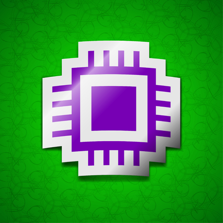 the unit: Central Processing Unit icon sign. Symbol chic colored sticky label on green background. illustration Stock Photo