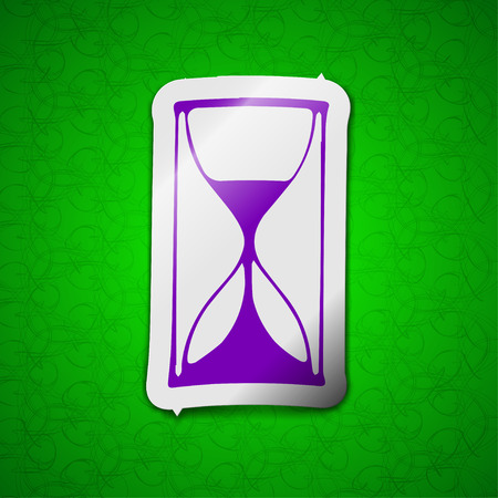 metering: hourglass icon sign. Symbol chic colored sticky label on green background. illustration